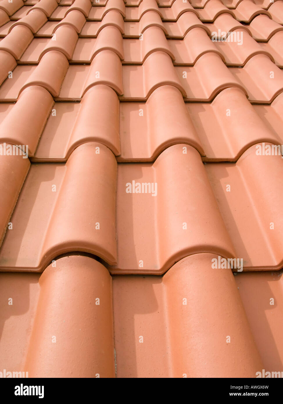 New orange roof tiles close up in Portugal Stock Photo