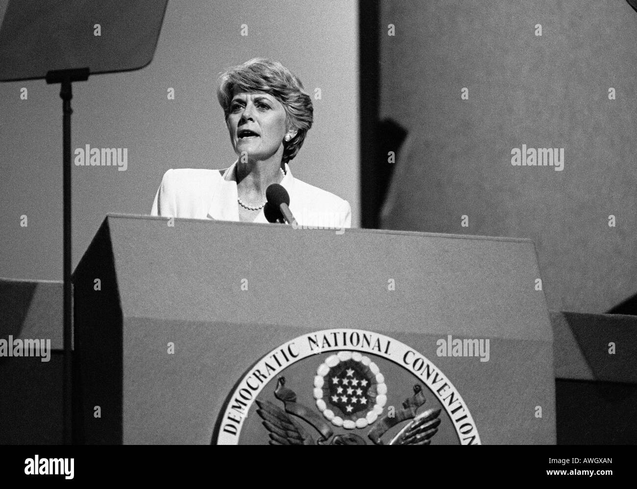 Geraldine Ferraro accepts Democratic party VP nomination at convention - Stock Image