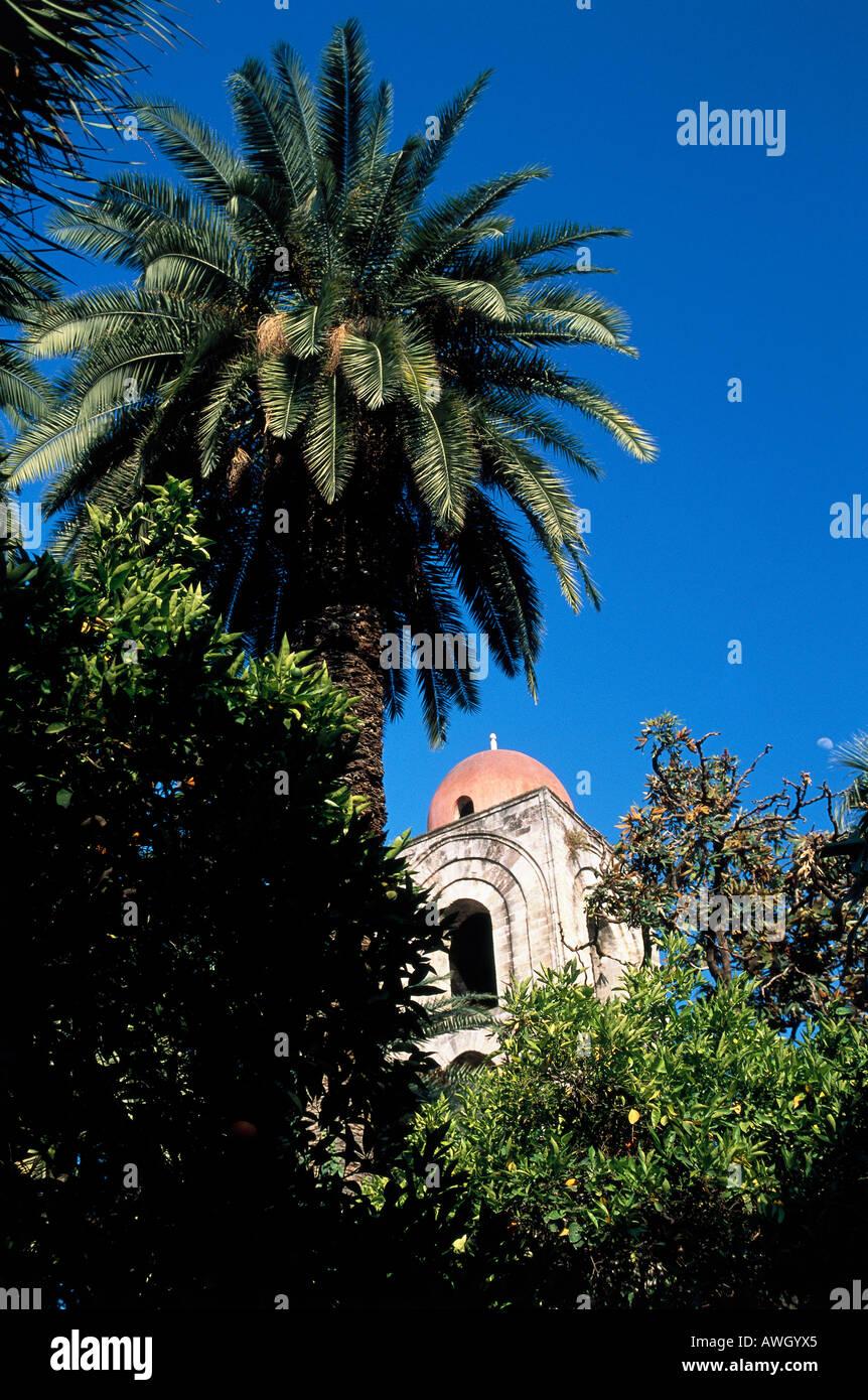 Italy, Sicily, Palermo, San Giovanni degli Eremiti, dome  rising behind palm trees and foliage, low angle view Stock Photo