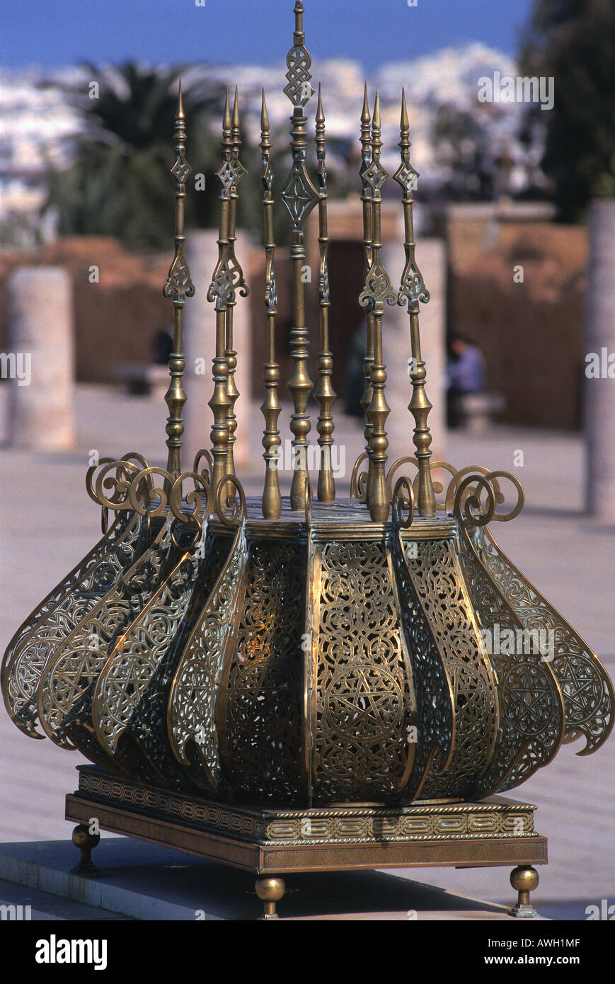 Morocco, Rabat, Mausoleum of Mohammed V, large candelabra with slender vertical shafts made of pierced and engraved copper - Stock Image