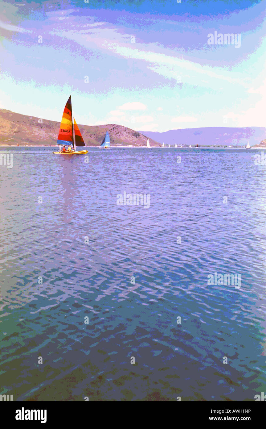 A colorful art image of people enjoying the warm sunshine and cool water on a local lake near Salt Lake City, Utah, - Stock Image