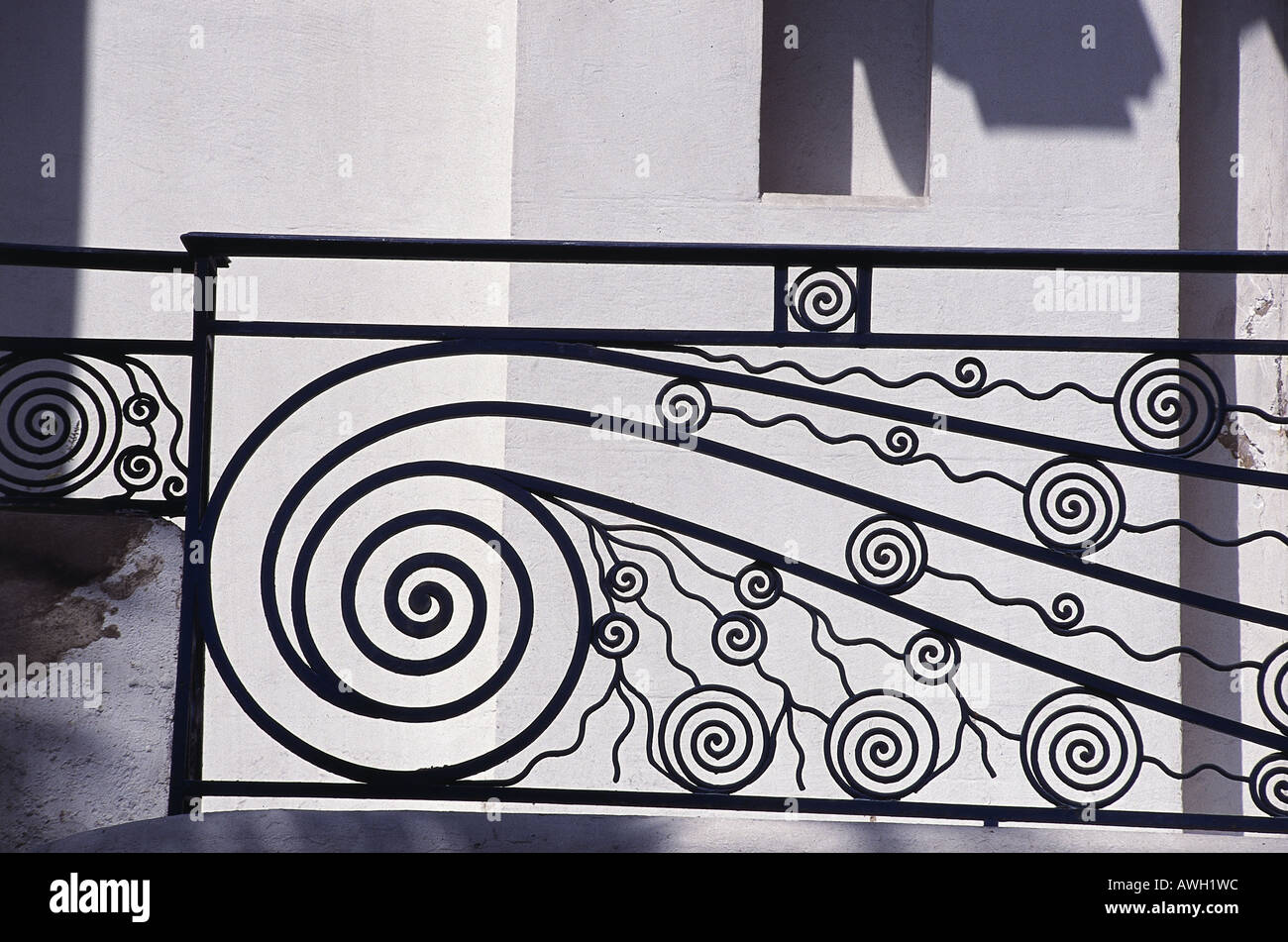 Morocco, Casablanca, Darius Boyer House, typical Art Nouveau wrought-ironwork balcony, detail - Stock Image