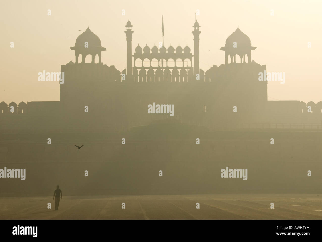 Lahore gate at the Red Fort at sunrise Delhi in India - Stock Image