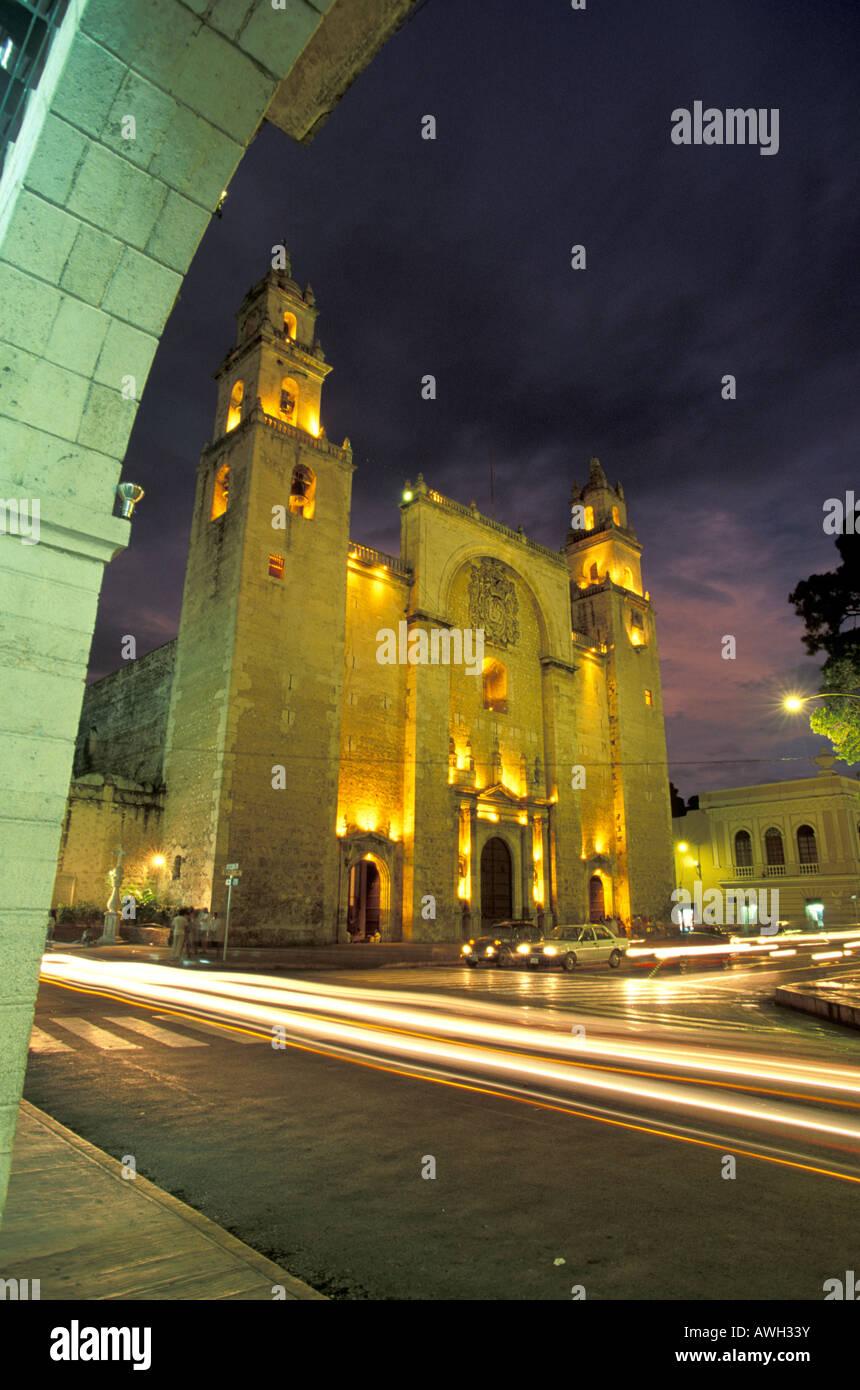 Merida Cathedral Yucatan Mexico Stock Photo