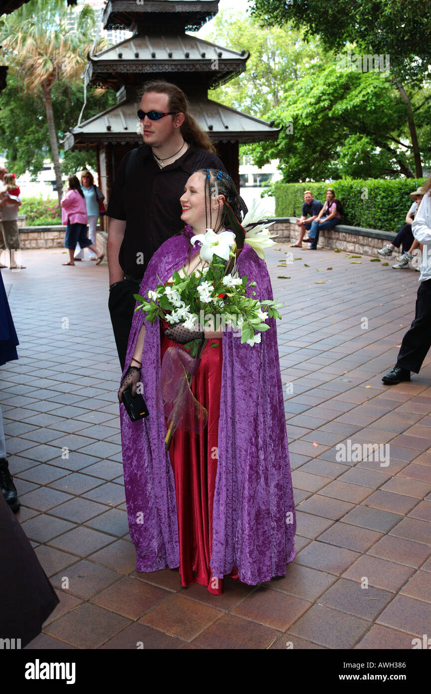 Bride And Brides Man At Discordian Goth Wedding Dsc 7208 Stock Photo Alamy