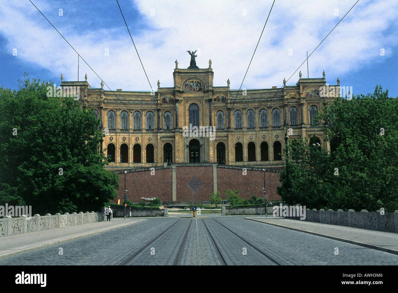 Germany, Bavaria, Munich, Maximilianeum, slightly concave façade, by architect Friedrich Bürklein, triple - Stock Image