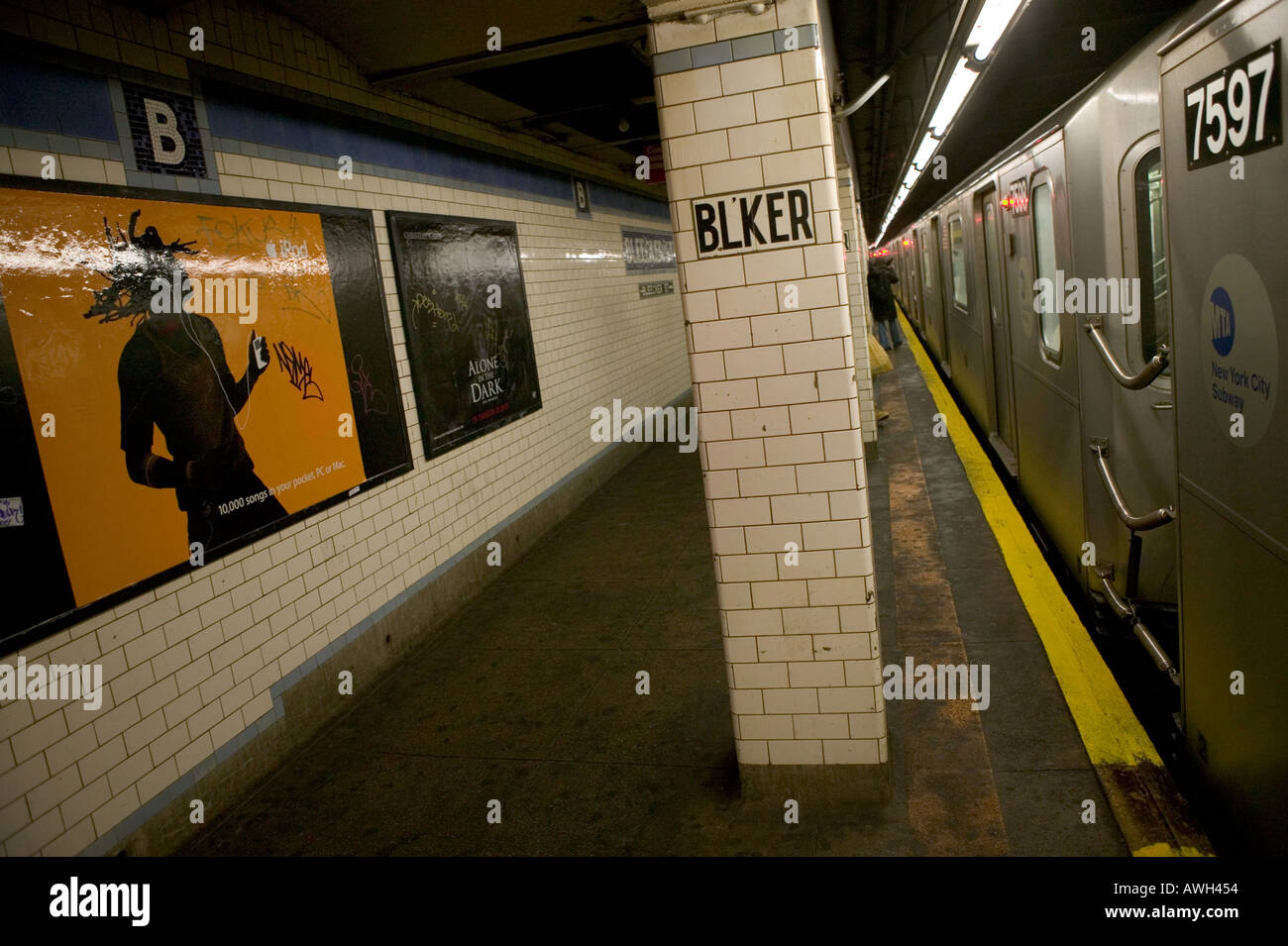 Apple iPod advertising in a subway station in New York City USA January 2005 - Stock Image