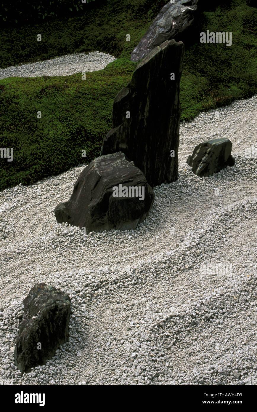 Raked gravel in Zuiho in Zen garden Kyoto Japan - Stock Image