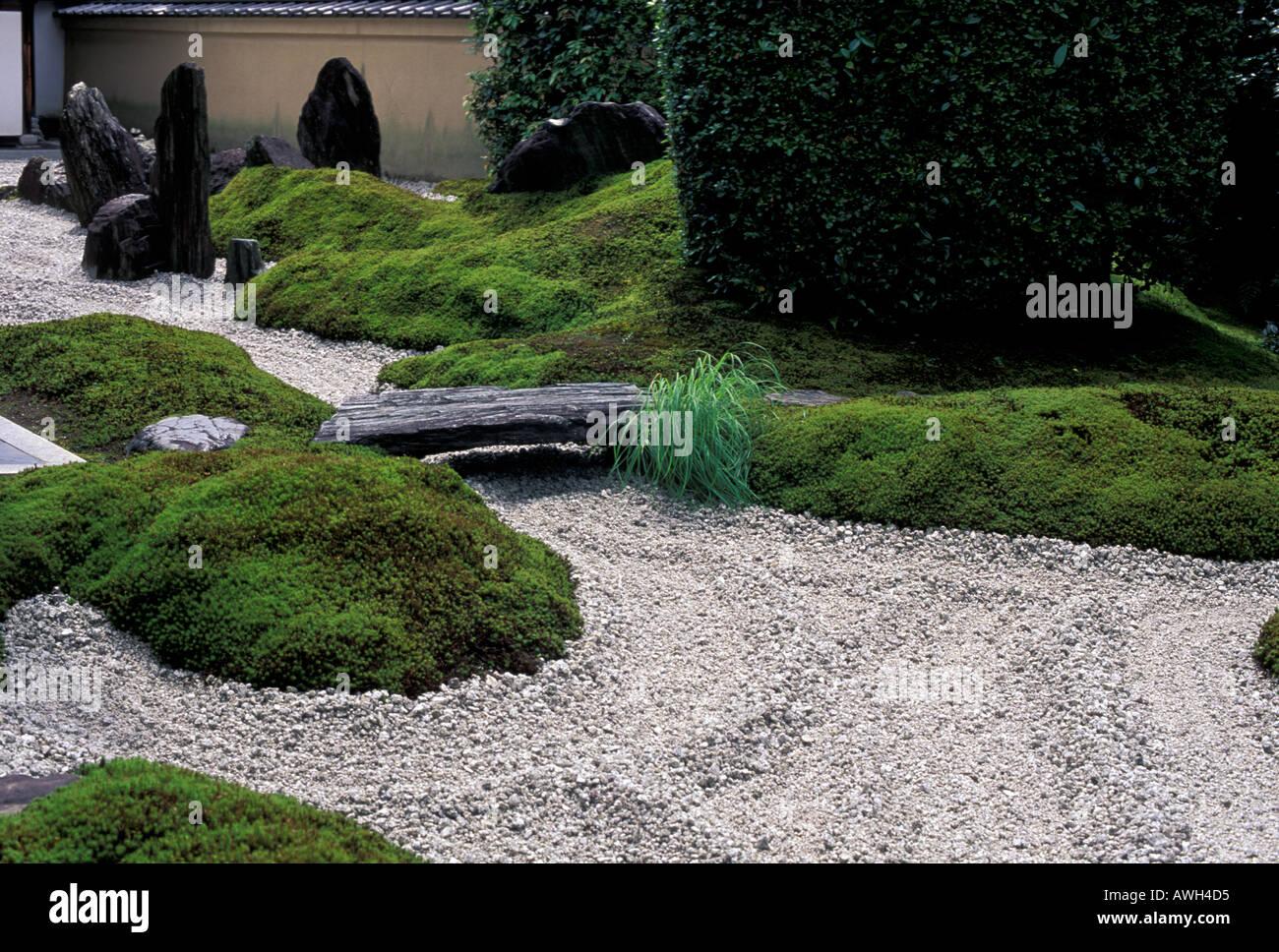 Zen garden of the Zuiho in Temple Kyoto Japan - Stock Image