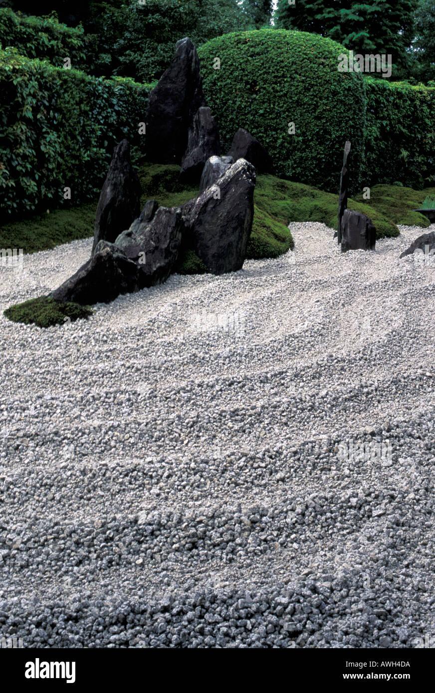Detail of Zen garden in the Zuiho in Temple Kyoto Japan - Stock Image