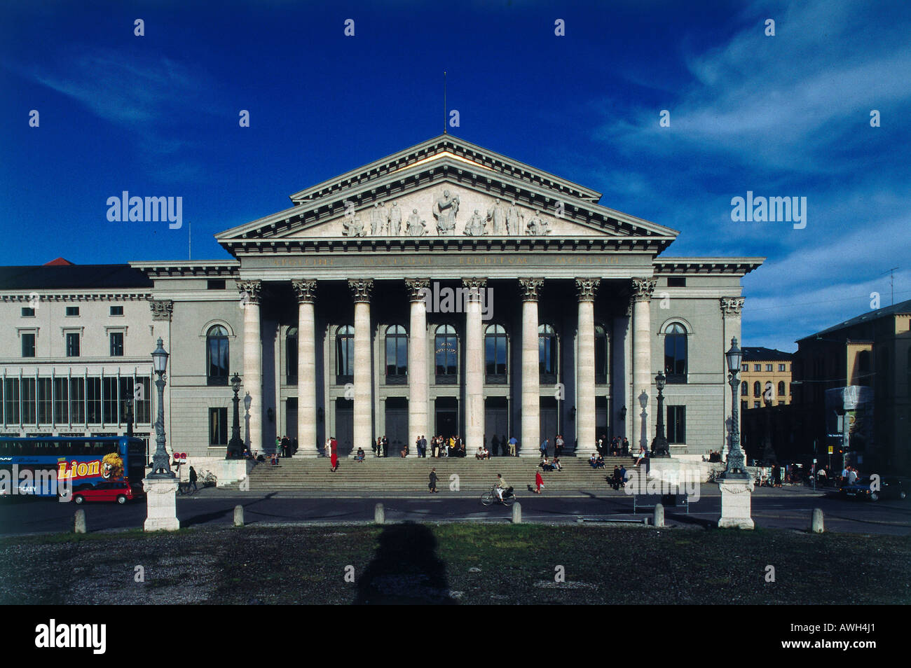 Germany, Bavaria, Munich, Nationaltheater, Neo-Classical façade, Bavarian State Opera Orchestra, and Munich Opera Festival - Stock Image