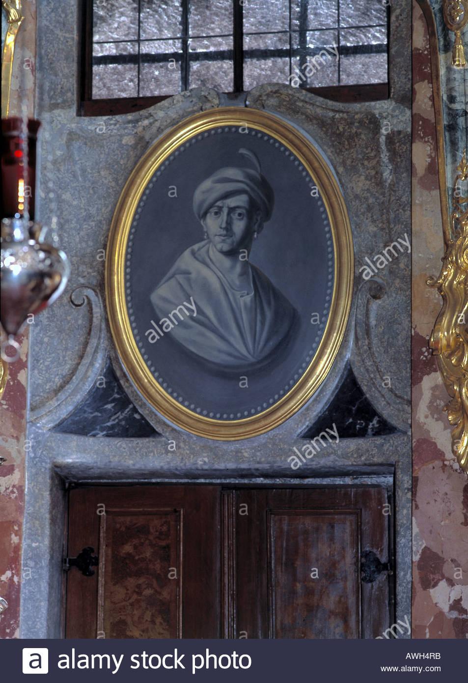 Germany, Bavaria, Asamkirche, portrait of Cosmas Damian Asam in presbytery - Stock Image