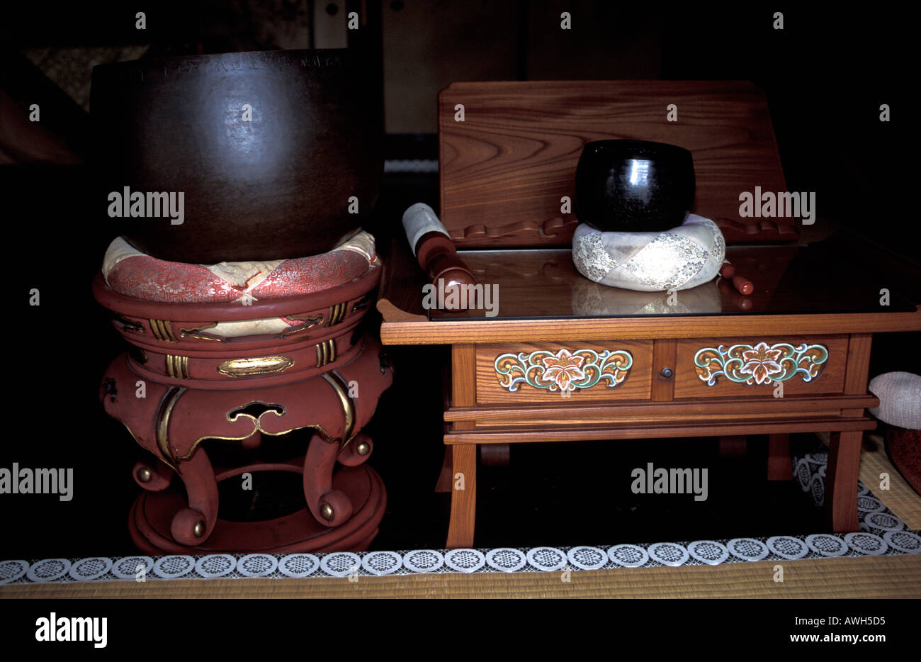 Buddhist paraphernalia for meditation in Zuiho in Temple Kyoto Japan - Stock Image