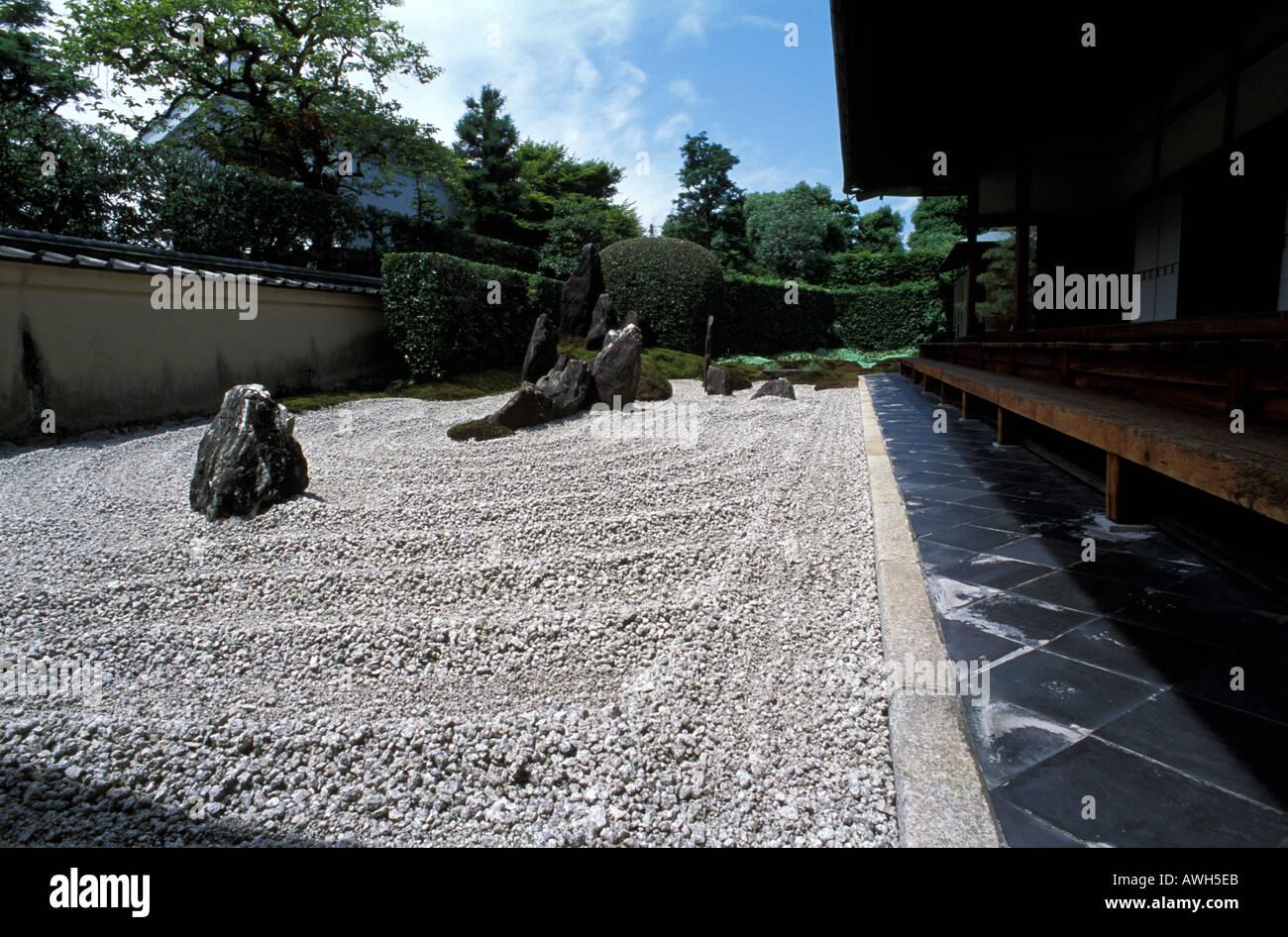 Zuiho in Temple with neighboring Zen Garden Kyoto Japan - Stock Image