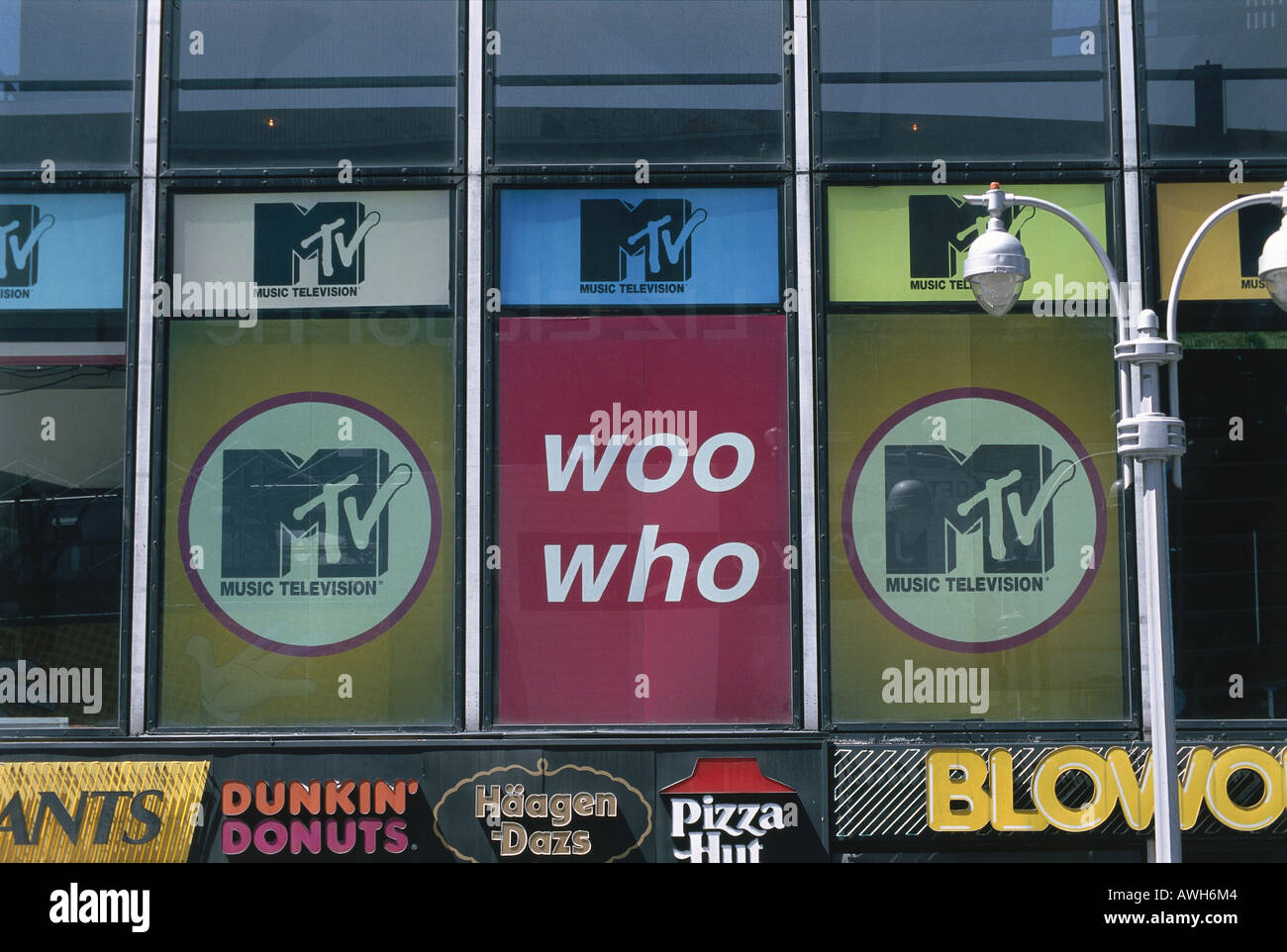 New York, Times Square, MTV Headquarters, first floor windows - Stock Image