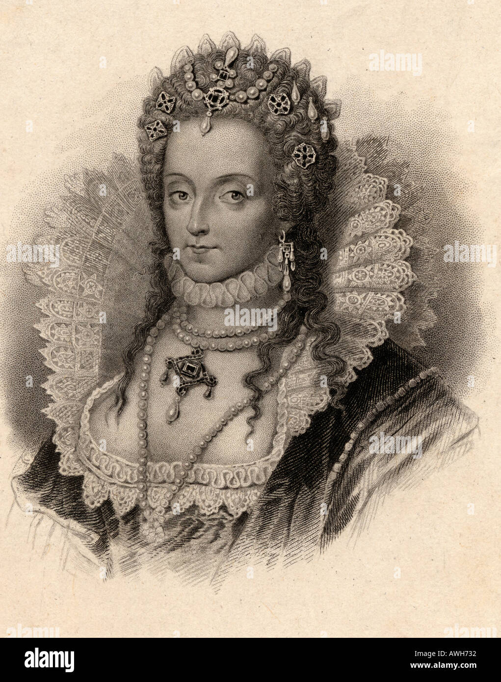 Elizabeth I, 1533 - 1603.  Queen of England.  From an old print - Stock Image