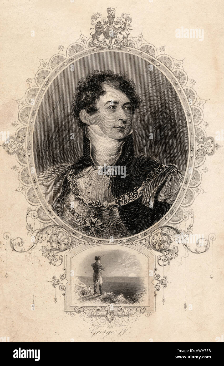 George IV, 1762 - 1830.  King of Great Britain and Ireland, and King of Hanover.  From an old print - Stock Image