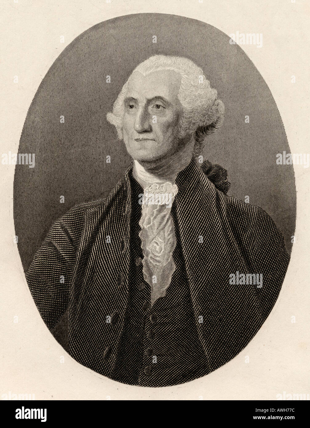 George Washington, 1732 - 1799.  American political leader, military general, statesman, and Founding Father.  First President of the United States. - Stock Image