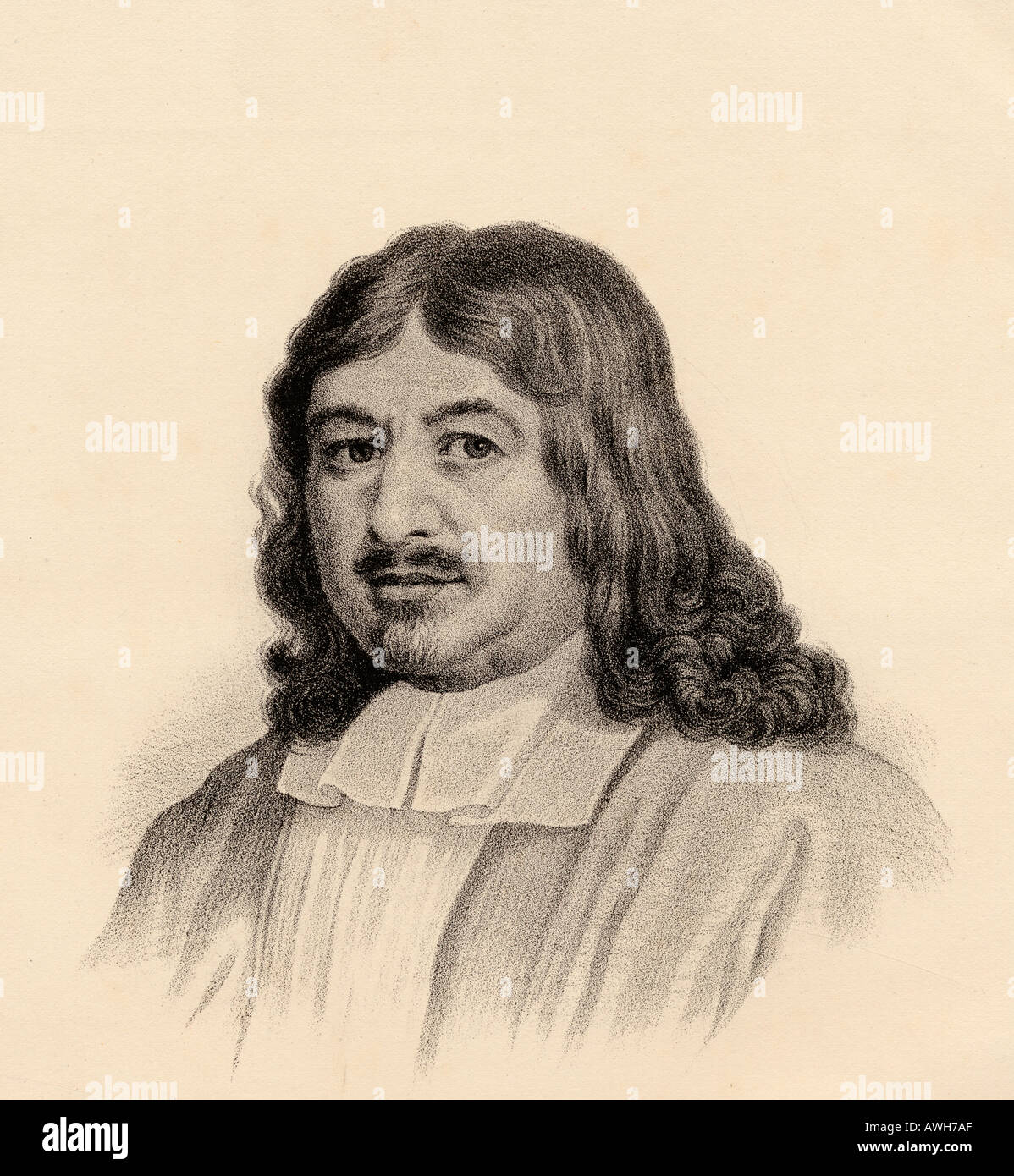 John Bunyan, 1628 - 1688.  English writer and Puritan preacher, author of The Pilgrim's Progress.  From the lithograph by W.H. McFarlane. - Stock Image