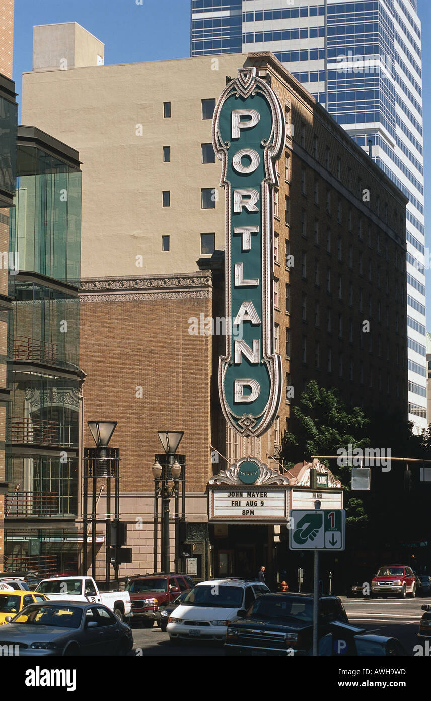 USA, Pacific Northwest, Oregon, Portland, Downtown, Portland Center for the Performing Arts, huge neon sign on upper façade - Stock Image