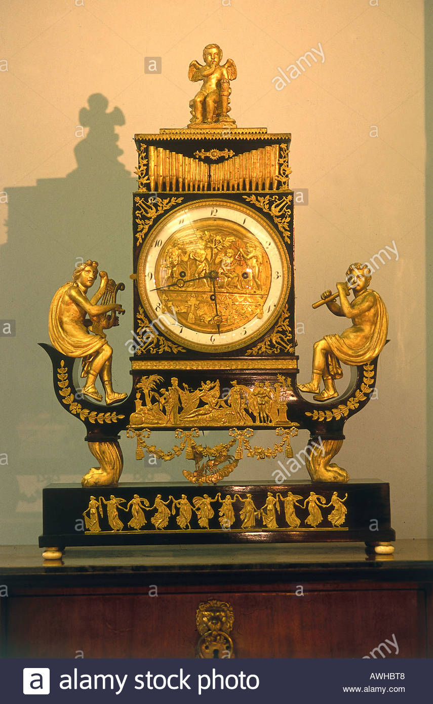 Croatia, Zagreb, Museum of Arts and Crafts, 19th-century clock - Stock Image