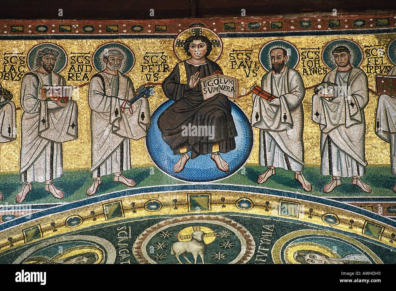 Croatia, Istria, Porec, Basilica of Euphrasius, Byzantine apse mosaic on triumphal arch depicting Christ and the Apostles - Stock Image