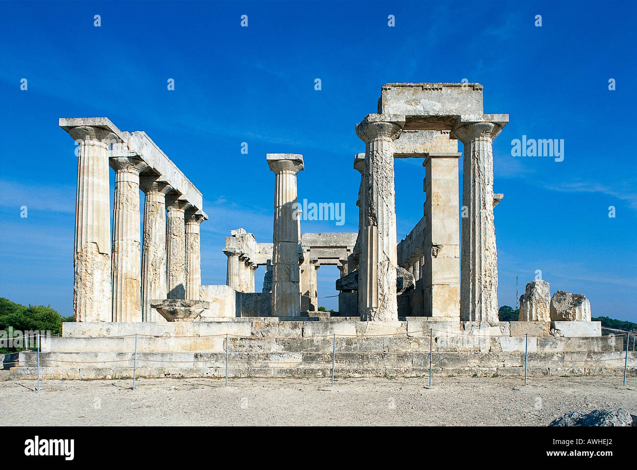 Home to the spectacular and well-preserved ancient temple of Aphaia, Aigina has a rich history due to its proximity to Athens. - Stock Image