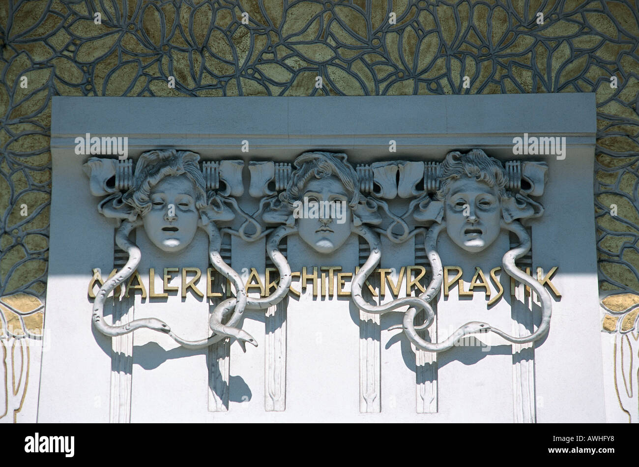 Austria, Vienna, Secession Building (1897-1898), Gorgon heads on Jugendstil style façade, - Stock Image