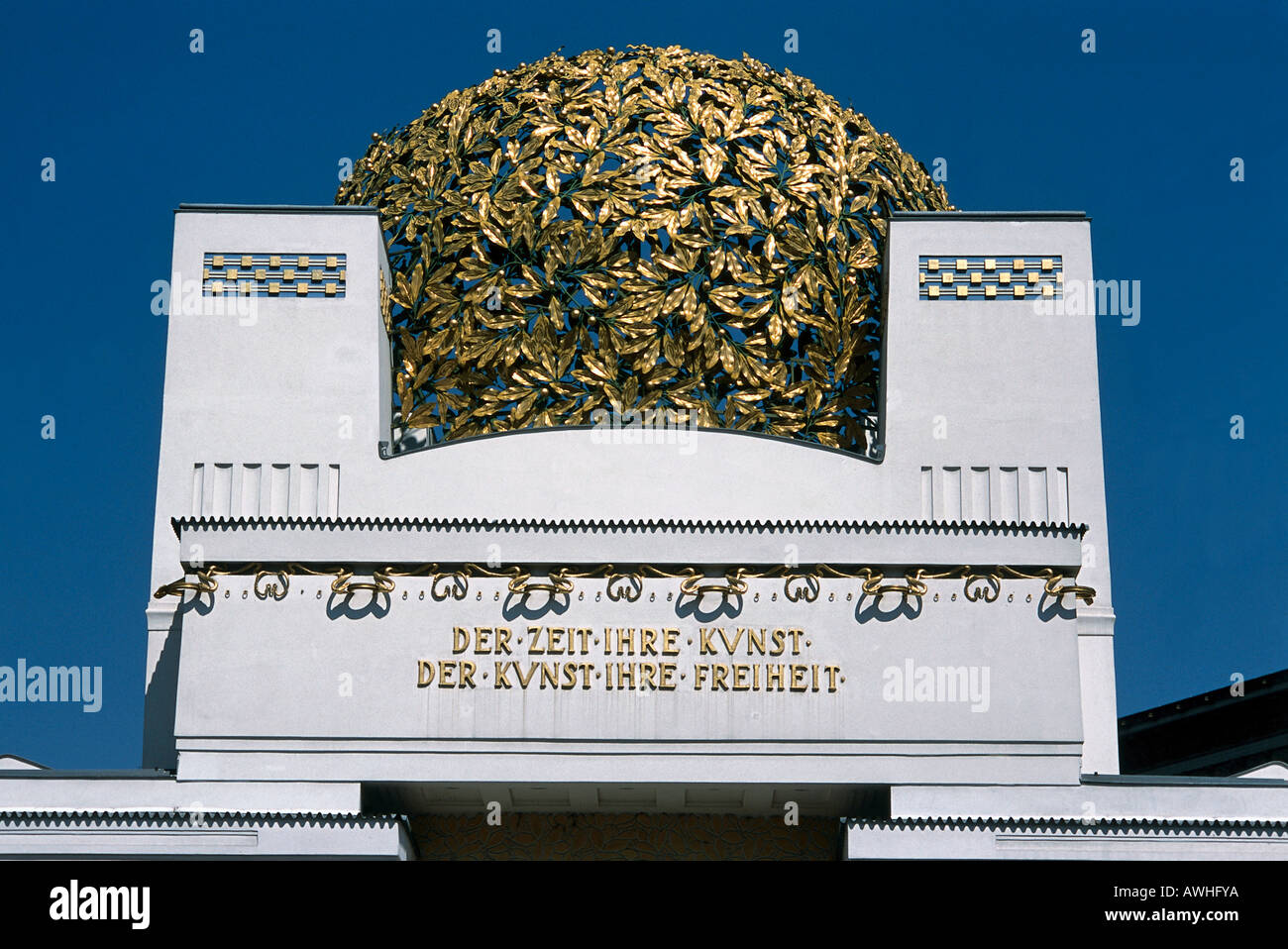 Austria, Vienna, Secession Building (1897-1898), ornamental  dome of entwined gilt, wrought-iron, - Stock Image