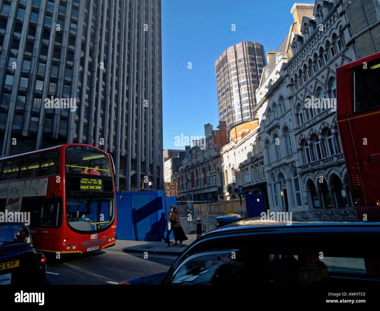 Heavy traffic and construction work in the heart of the city near Bank underground station London UK Stock Photo