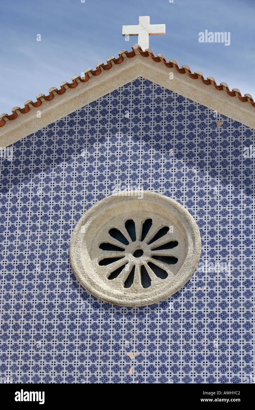 A blue tiled facade on a church in Nazaré Portugal Stock Photo