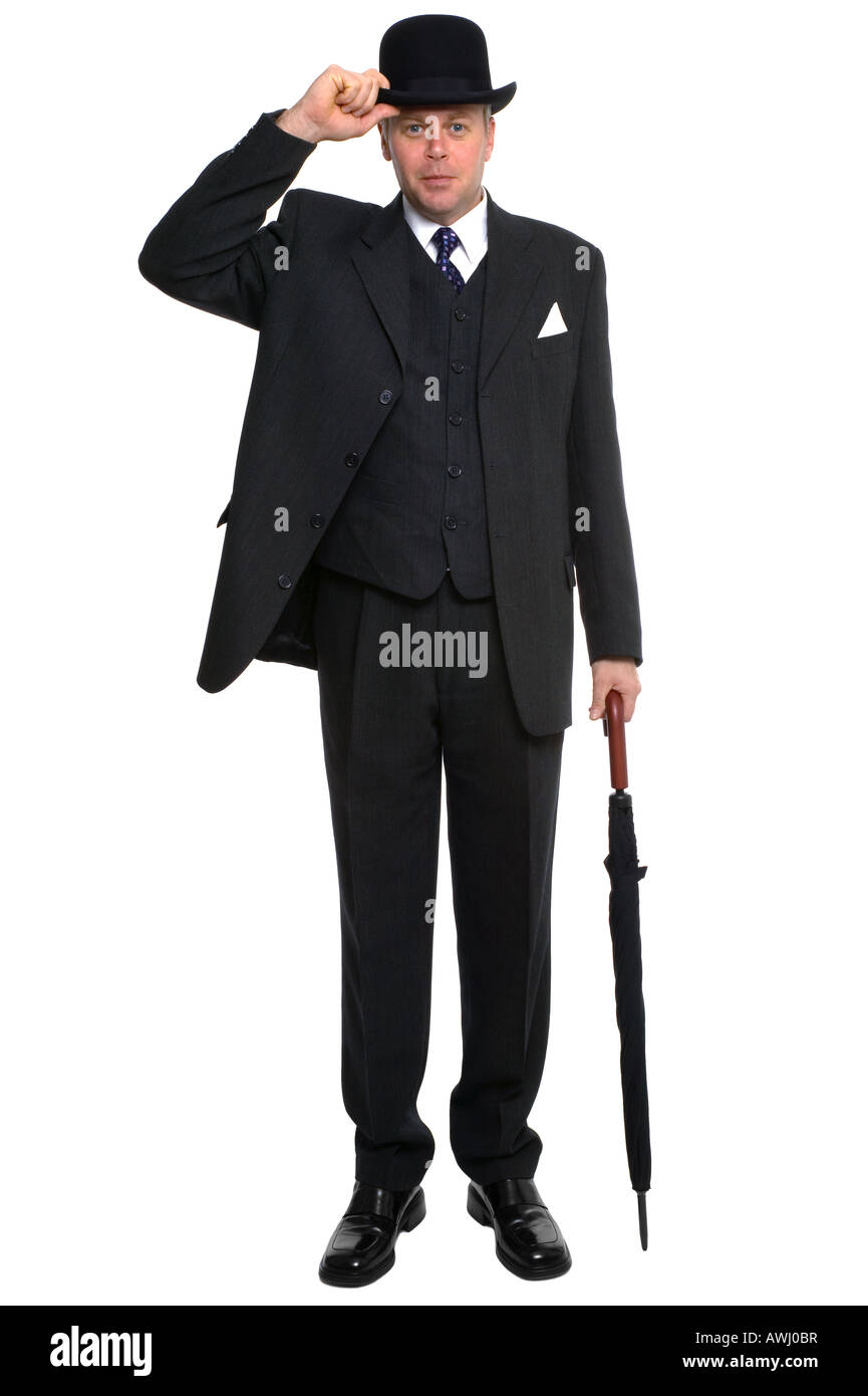 2f47fb51ab8 A city gent in three piece pinstriped suit carrying an umbrella and raising  his bowler hat
