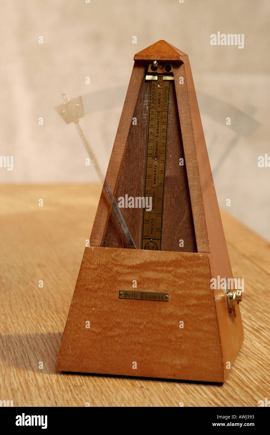 Seth Thomas Wooden Metronome Set In Motion music time timing - Stock Image