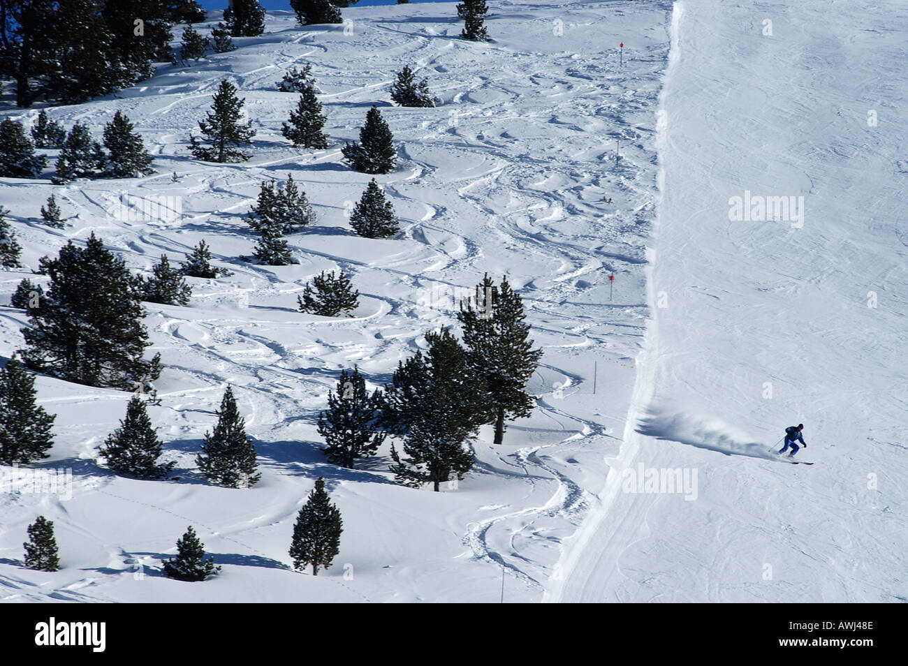 off piste tracks skiing in Andorra Soldeu ski resort Andorra - Stock Image