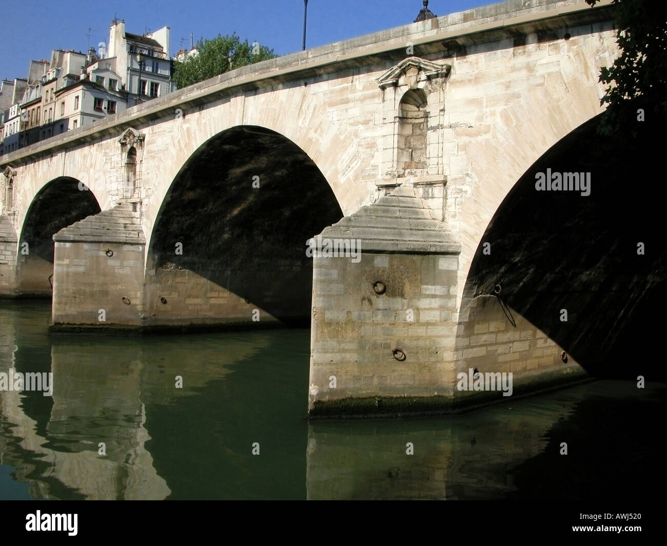 France Paris Pont Louis Philippe and the Seine river - Stock Image