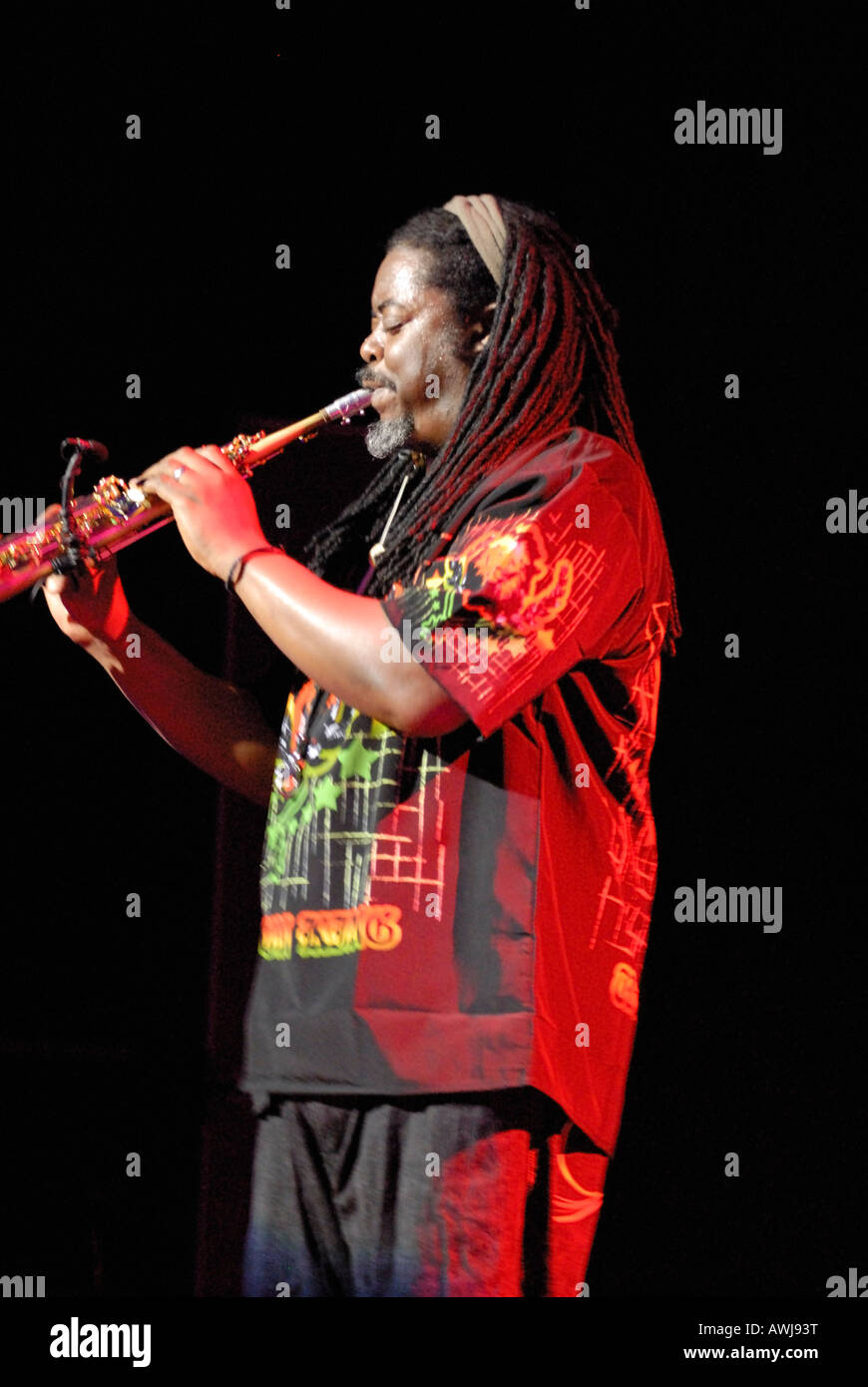 Courtney Pine playing saxophone at The Opera House in