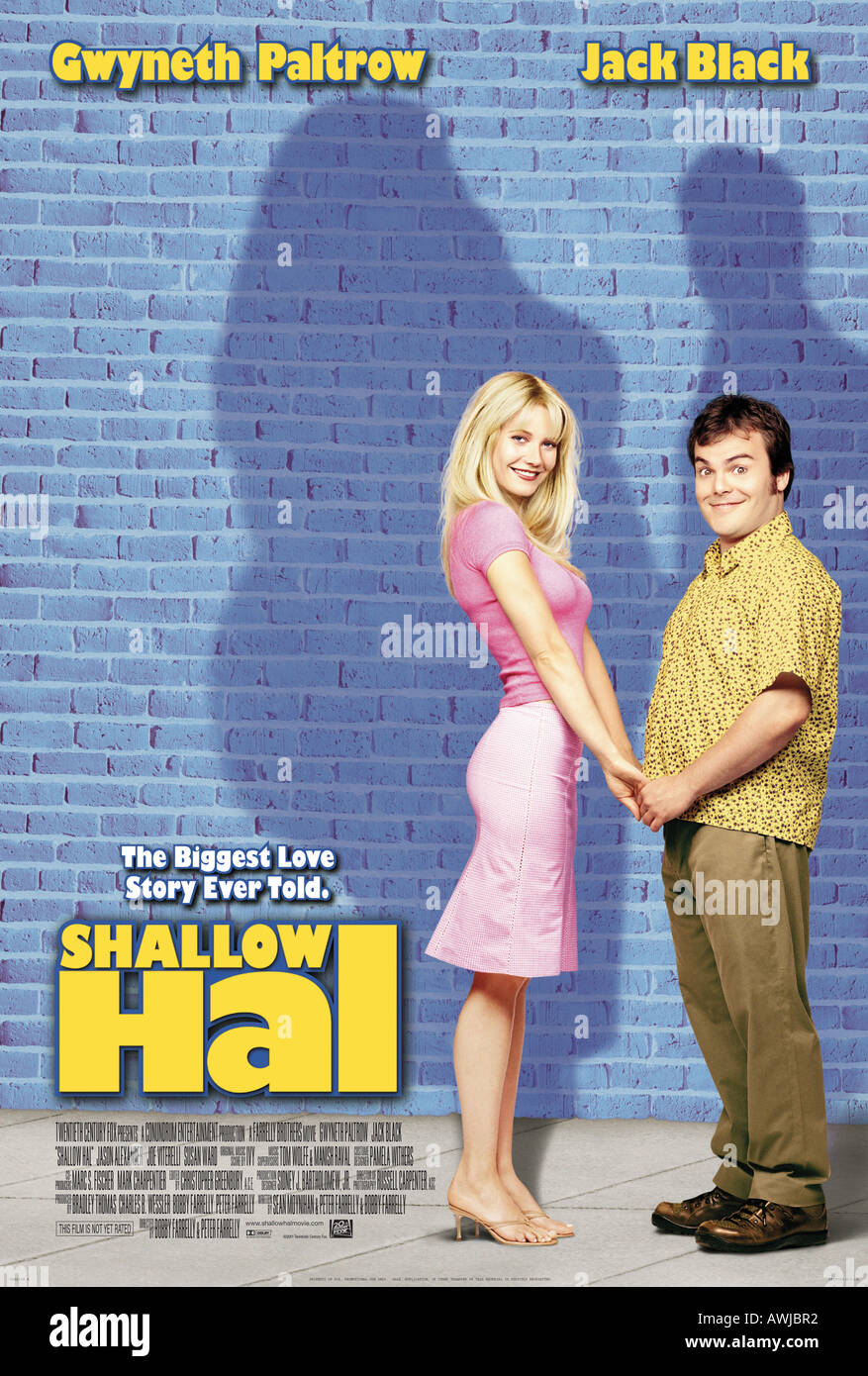 SHALLOW HAL  poster for 2001 Twentieth Century Fox film with Gwyneth Paltrow and Jack Black - Stock Image