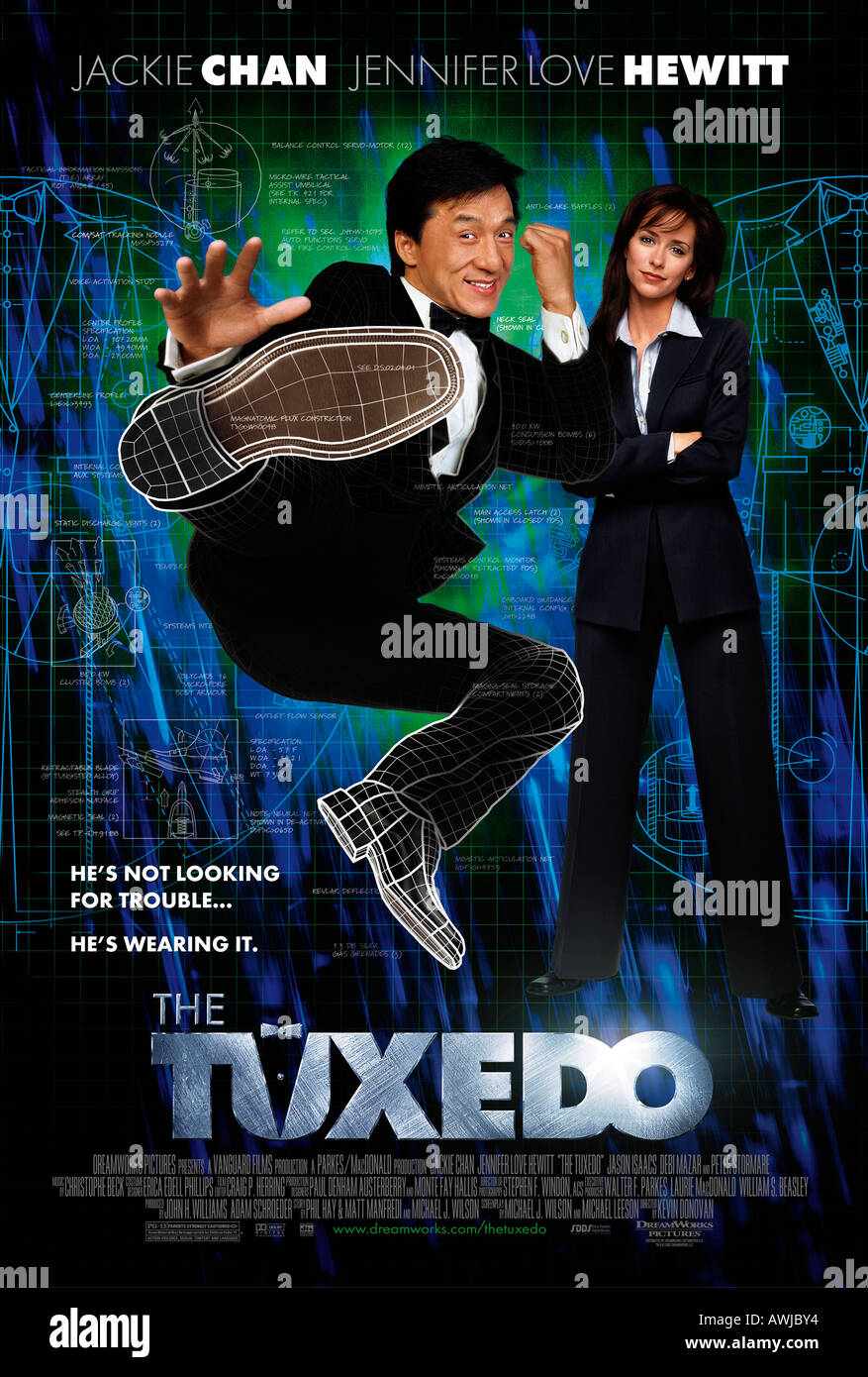 THE TUXEDO poster for the 2002 Dream Works film with Jackie Chan and Jennifer Love Hewitt - Stock Image