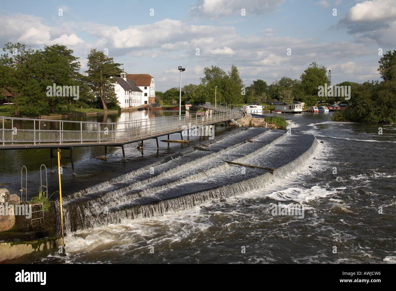 Hambleden Mill with weather vain on Hambleden lock wier near Henley on Thames Stock Photo