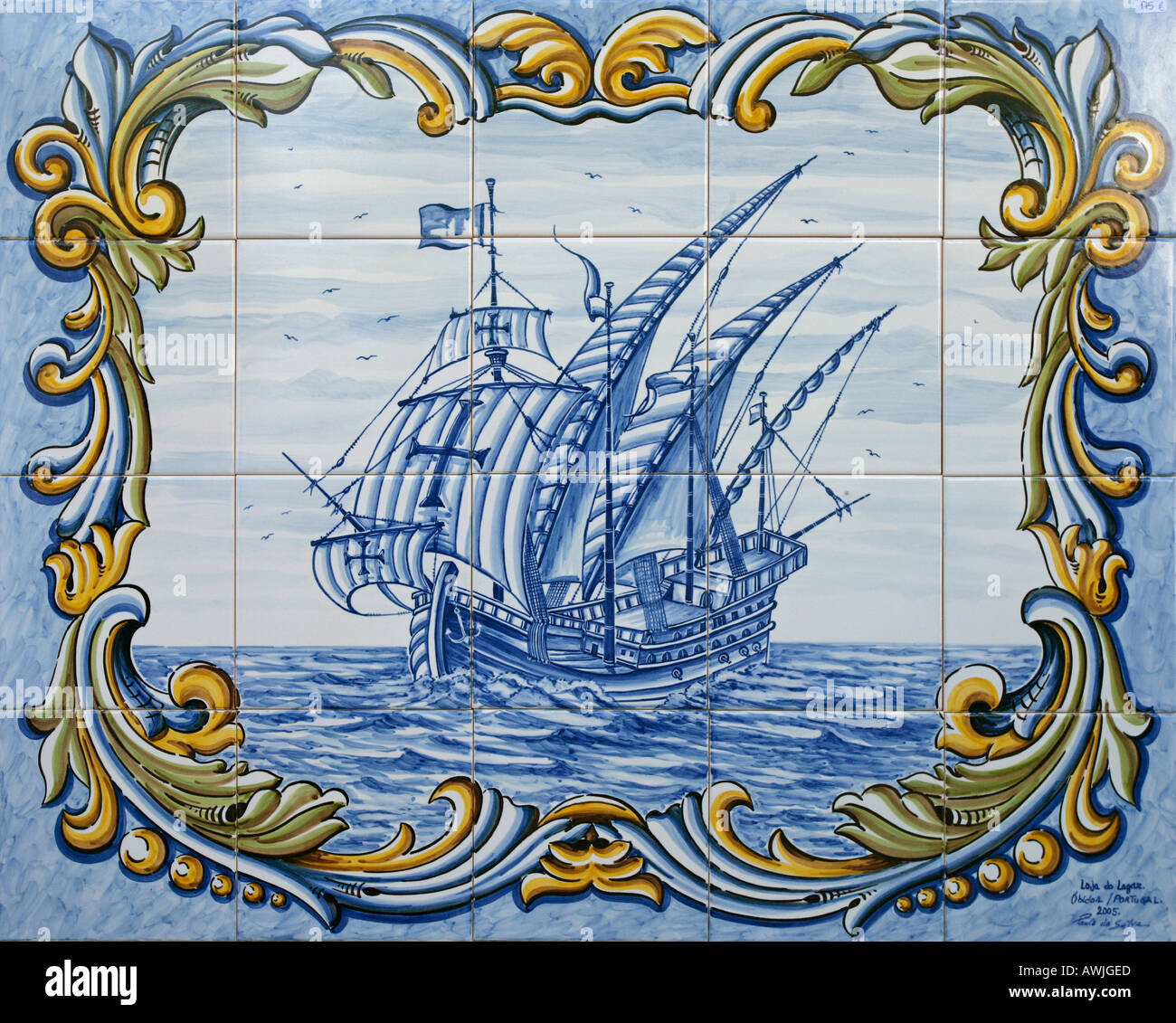 A tile painting of an old sailing ship found in Óbidos Portugal - Stock Image