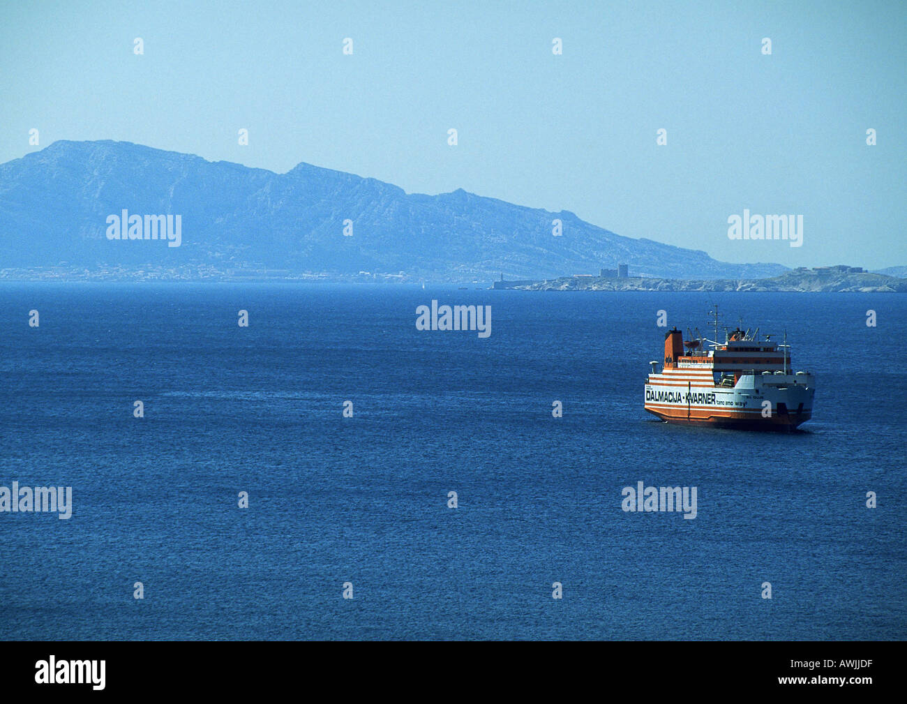 Freight ship on water - Stock Image