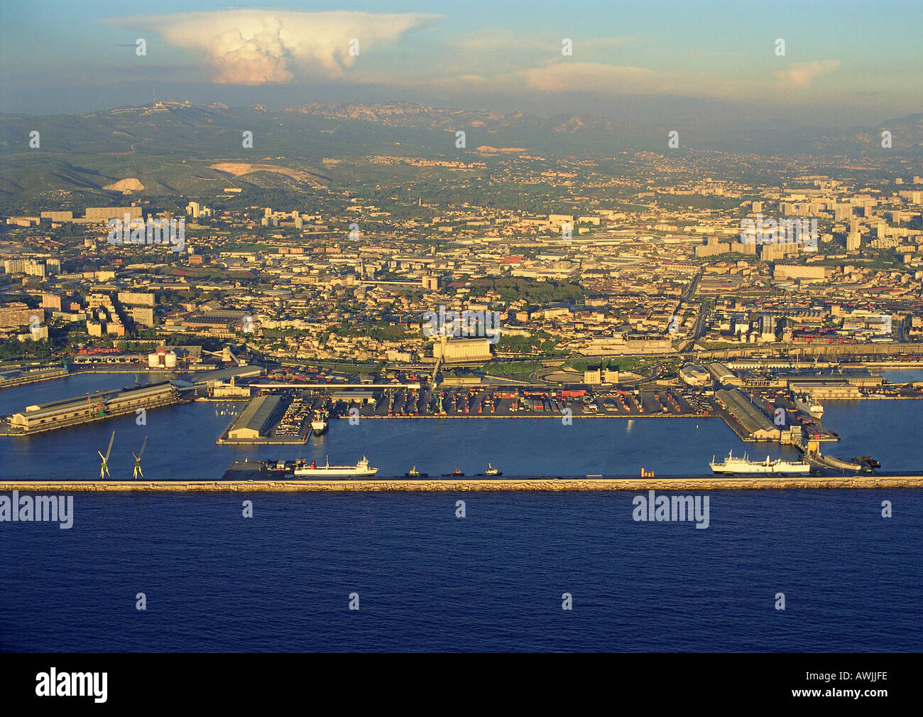 Aerial view of port city - Stock Image