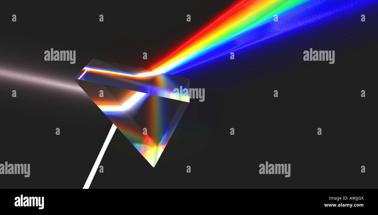 The picture shows how white light-ray is been refracted by a prism into rainbow colors. - Stock Image