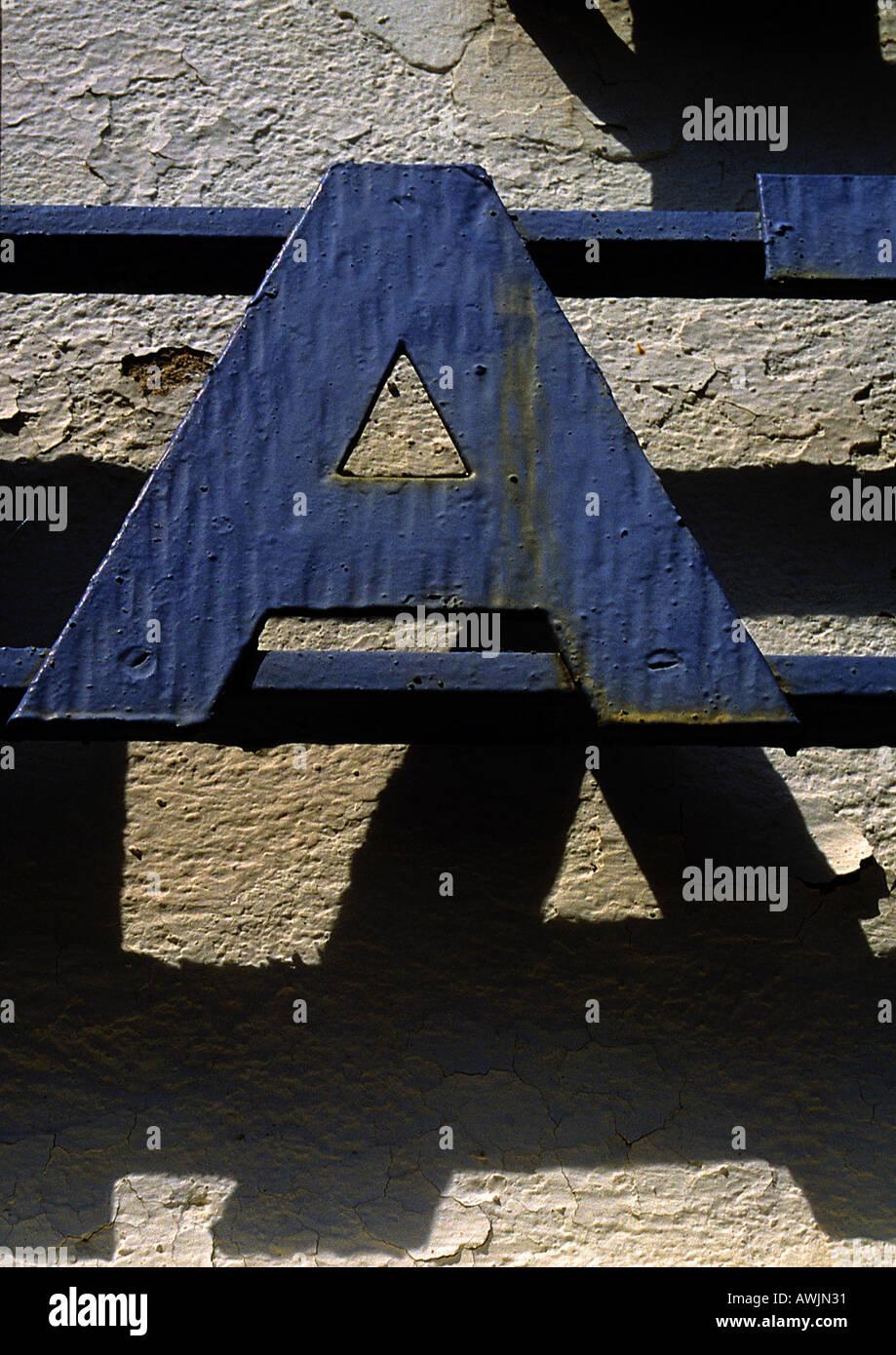 A, text, cutout. - Stock Image