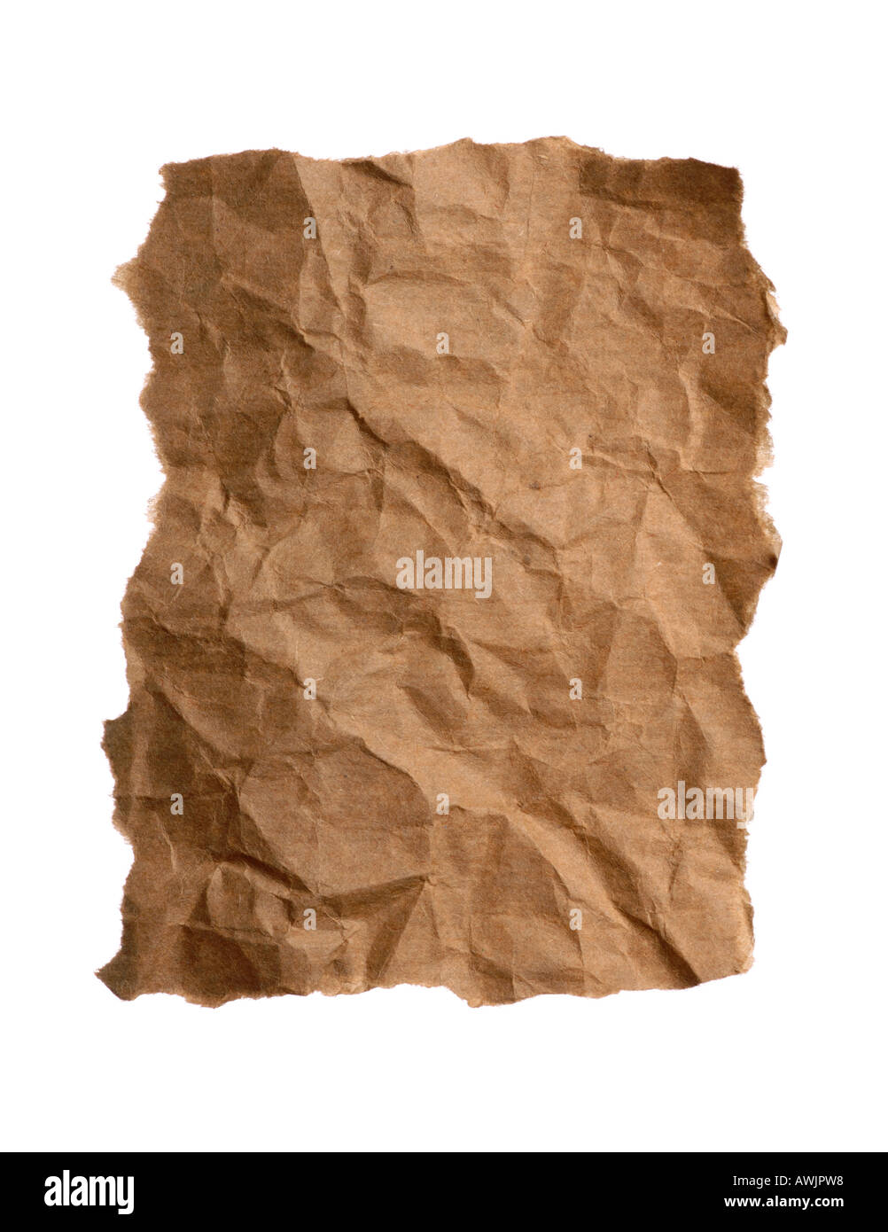 A piece of crumpled and torn brown paper - Stock Image