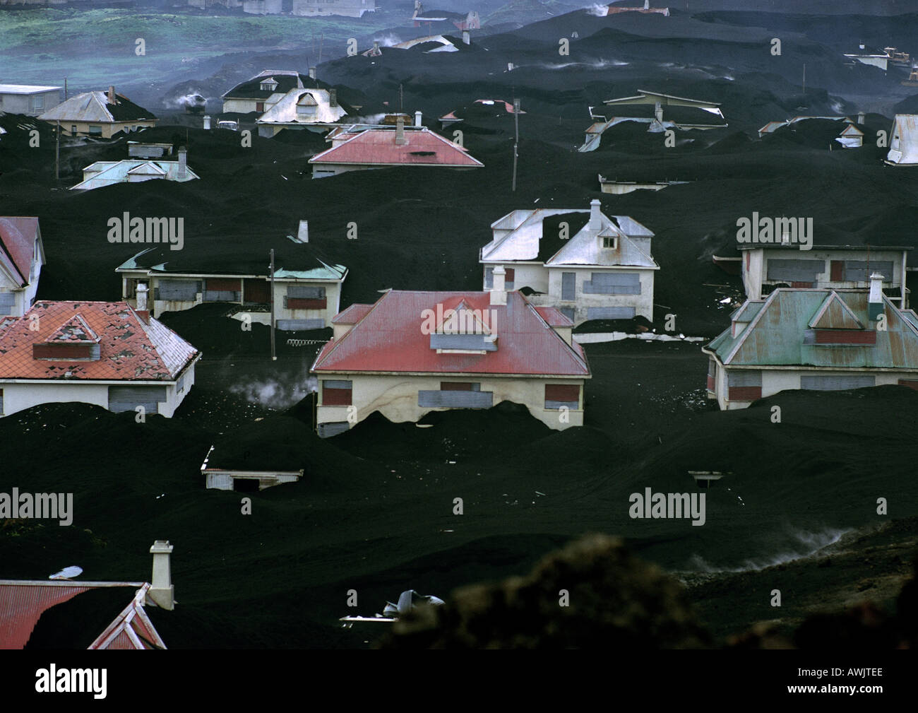 Iceland, village half buried in volcanic ash - Stock Image