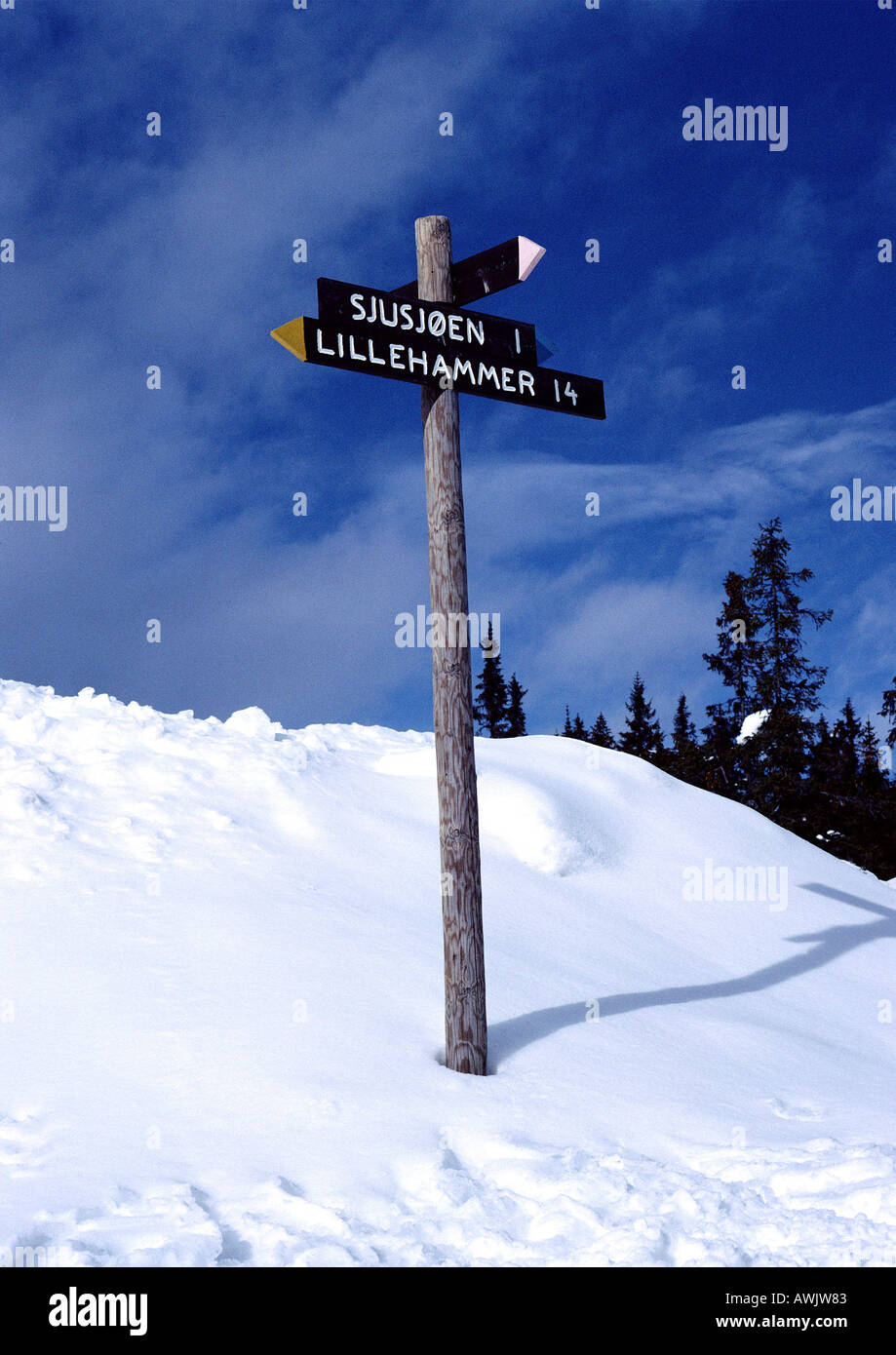 Norway, direction sign in snow - Stock Image
