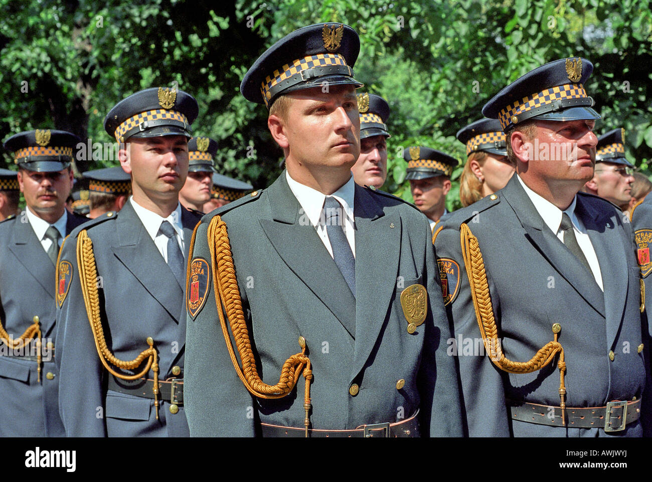 Delegation of municipal police at the 60th Anniversary of the Warsaw Uprising, Warsaw, Poland - Stock Image