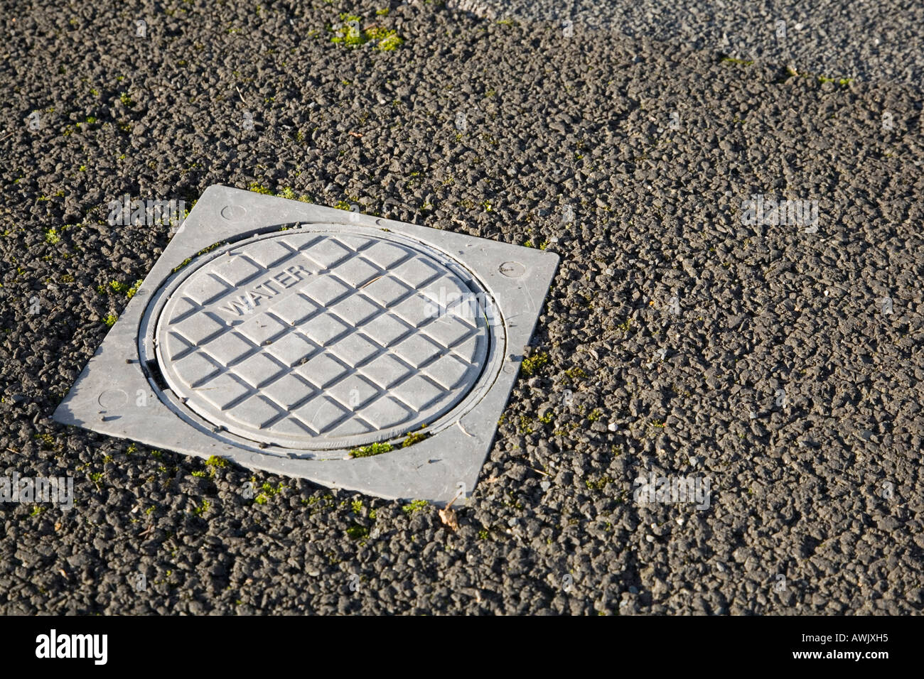 Water access cover on a tarmac pavement - Stock Image