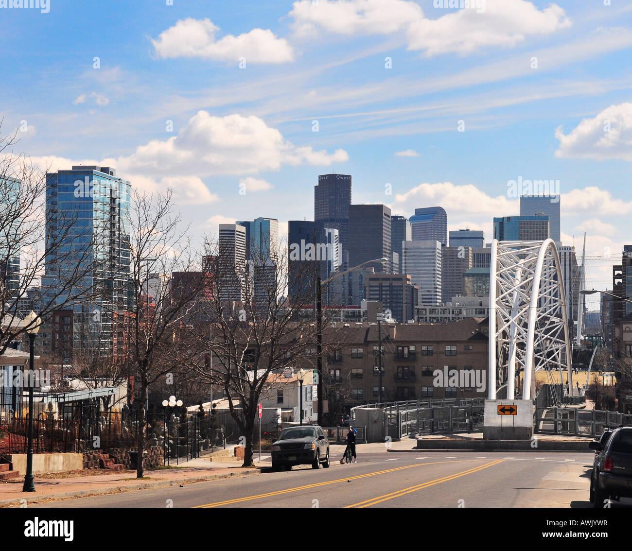 Highland pedestrian Bridge and Denver Skyline in Lower Downtown Denver Colorado USA - Stock Image